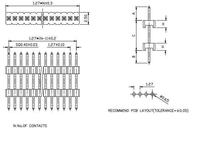 Vertical Mount Single Row Pitch 1.27mm PIN Header with Board Spacer - Drawing