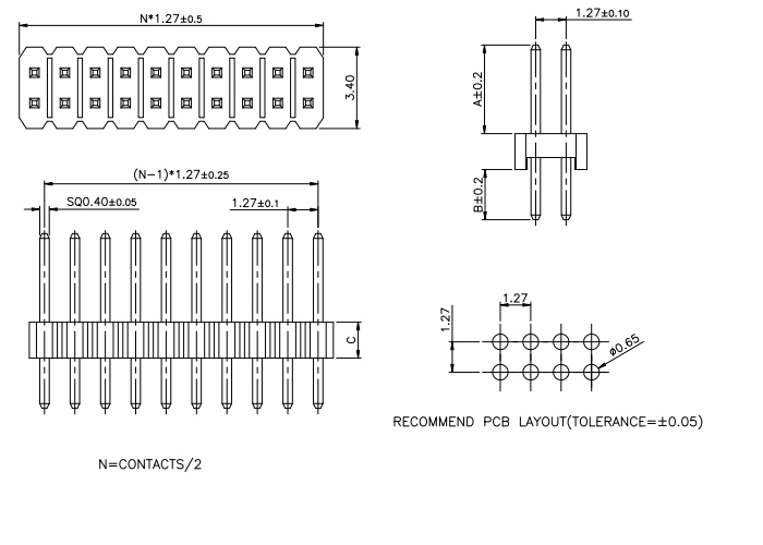 Dual Row Vertical Through Pitch 1.27mm PIN Header - Drawing