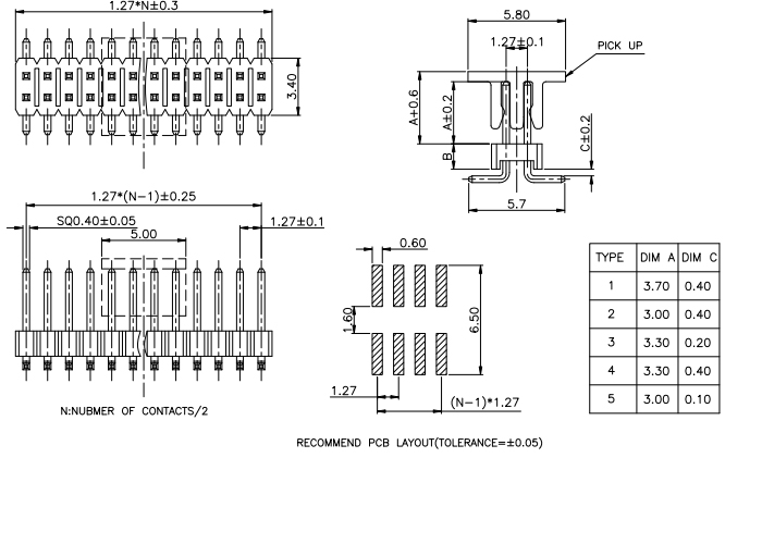 R/A Dual Row Pitch 1.27mm PIN Header - Drawing
