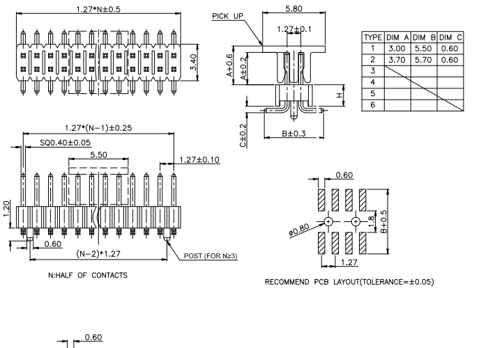 Dual Row Pitch 1.27mm PIN Header Conn with Locating peg - Drawing