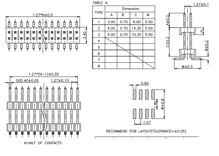 Dual Row SMT 1.27mm Pitch PIN Header Connector - Drawing
