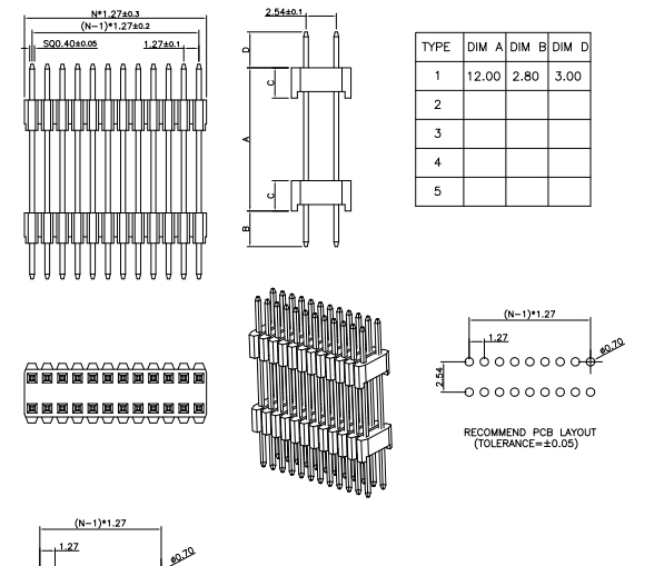 SMT Type Stack PIN Header 1.27mm Pitch 1.27*2.54 - Drawing