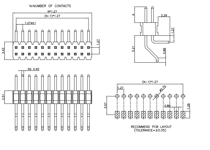 Right Angle Dual Row SMT and Through Hole Type 1.27mm PIN Header - Drawing