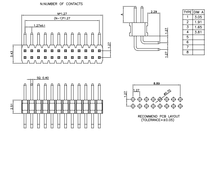 Right Angle Dual Row 1.27mm Pitch PIN Header - Drawing