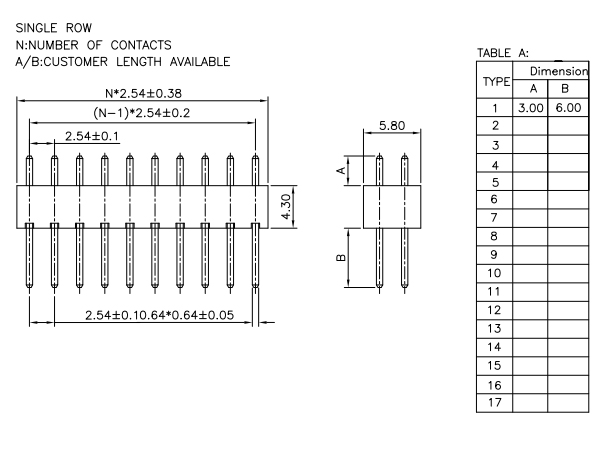 Straight Vertical Through 2.54mm PIN Header H=4.3mm - Drawing