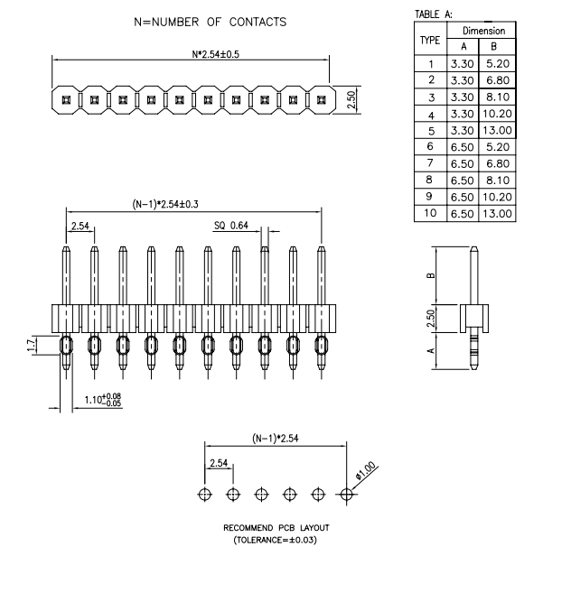Single Row 2.54mm Pitch Press-Fit PIN Header - Drawing