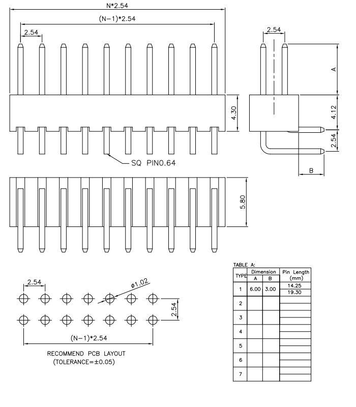 Dual Row 2.54mm PIN Header R/A H=4.3mm - Drawing