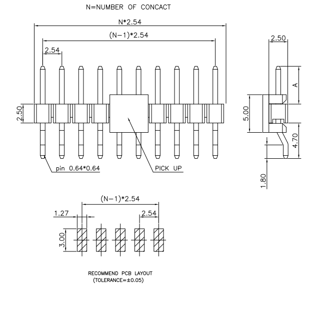Surface Mount Type R.A 2.54mm Single Row PIN Header - Drawing
