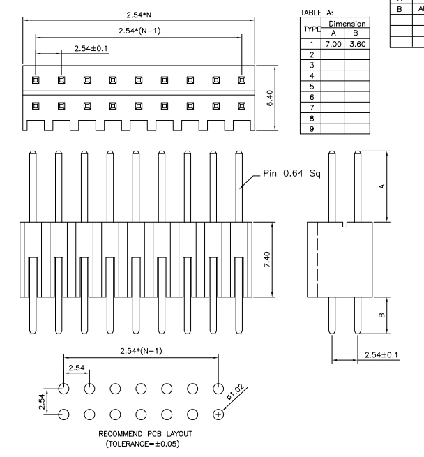 Dual Row 2.54mm S/T Type PIN Header - Drawing
