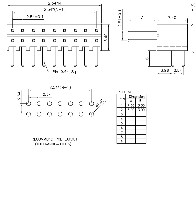 2.54mm PIN Header R/A H=7.4mm - Drawing