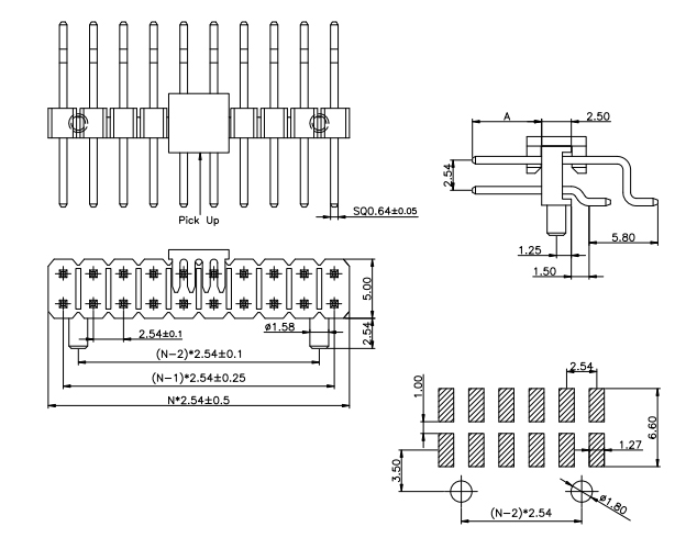 2.54mm 2 Rows PIN Header R/A SMT W/ POST- Drawing