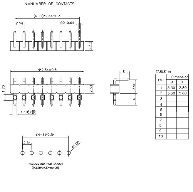 Single Row R/A Press-Fit 2.54mm PIN Header - Drawing