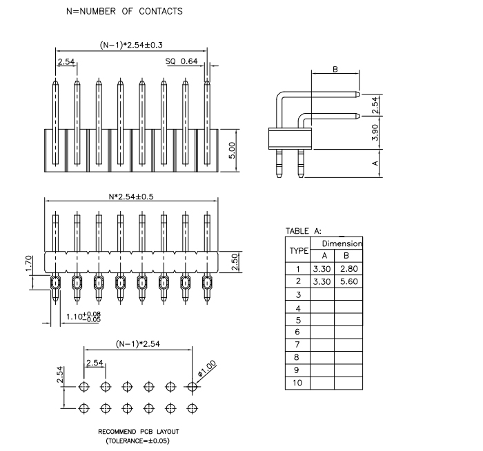 Dual Row R/A Press-Fit 2.54mm PIN Header - Drawing