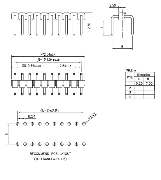 R/A 2.54mm Pitch PIN Header - Drawing