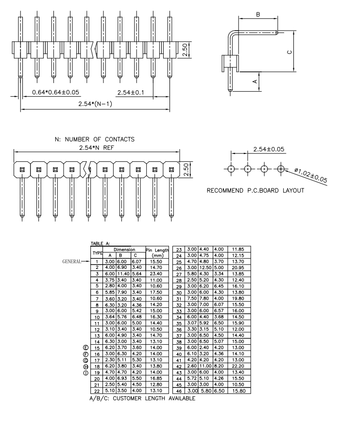 Right Angle SMT Type 2.54mm PIN Header - Drawing