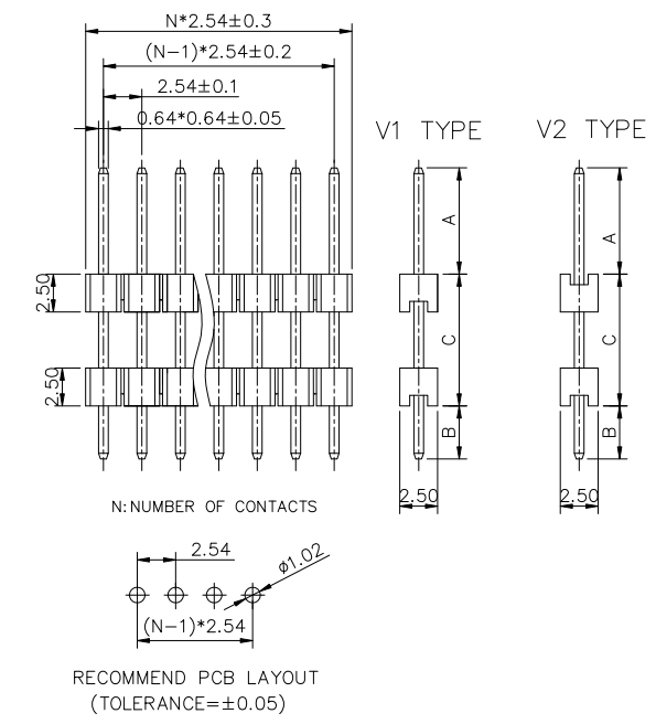 Single Row V/T Type Board Spacer Pin Header 2.54mm - Drawing