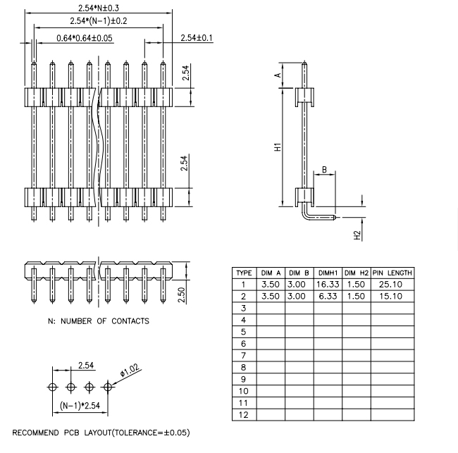 Single Row Right Angle Type Board Spacer Pin Header 2.54mm - Drawing