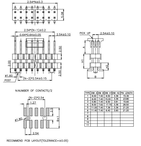 Dual Row SMT Type Pitch 2.54mm Board Spacers Pin Header - Drawing