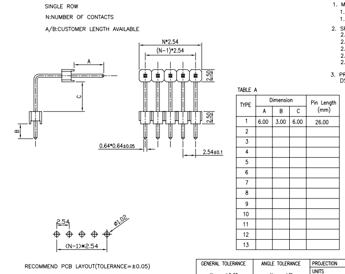 Single Row 2.54 Pitch R/A Male Header - Drawing
