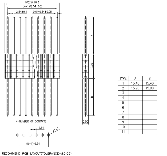 Single Row V/T Type Straight 2.54mm Pitch PIN Header - Drawing