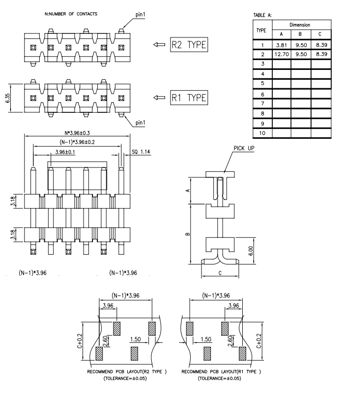 SMT Type Single Row 3.96mm Pitch Stack PIN Header - Drawing