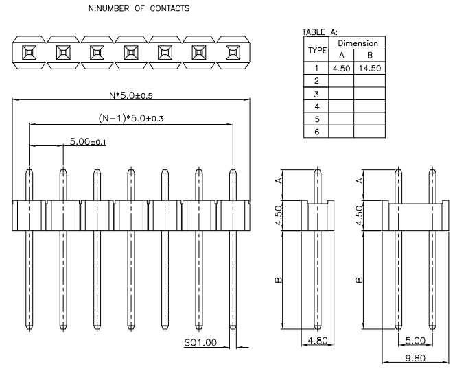Single Row Pitch 5.00mm PIN Header Conn - Drawing