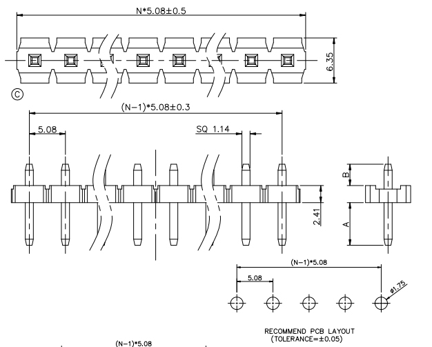 Vertical Through Single Row PIN Header 5.08mm Pitch - Drawing