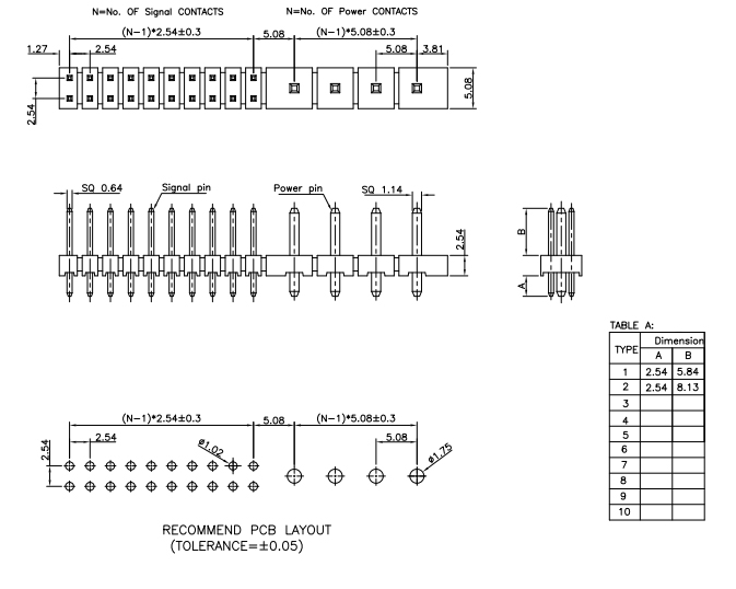 Straight 5.08mm Combine 2.54mm Pitch PIN Header - Drawing