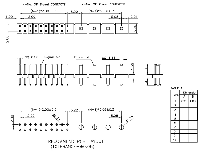 Vertical Through 5.08mm Combine 2.00mm Pitch PIN Header - Drawing