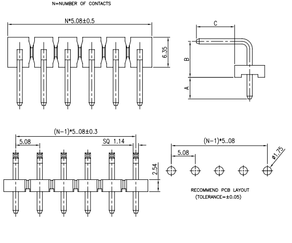 R/A Single Thru-Hole Row PIN Header 5.08mm Pitch - Drawing