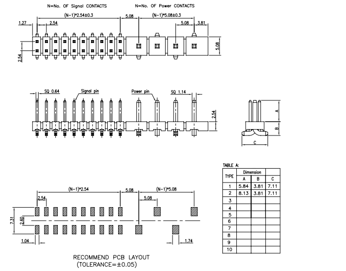 SMT Type 5.08mm 2.54mm Pitch Combination PIN Header - Drawing