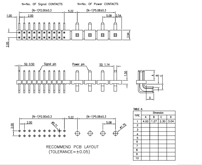 Thru-Hole Type 5.08mm 2.00mm Pitch Combination PIN Header - Drawing