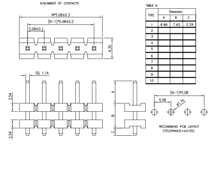 Pitch 5.08mm Stack Single Row PIN Header - Drawing