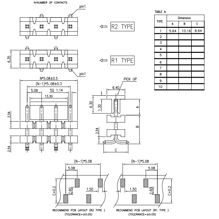 SMT Type Pitch 5.08mm Stack Single Row PIN Header - Drawing